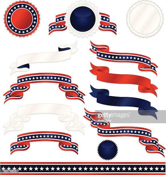 Patriotique symboles autocollants, rubans frontière Set-Red, White Blue