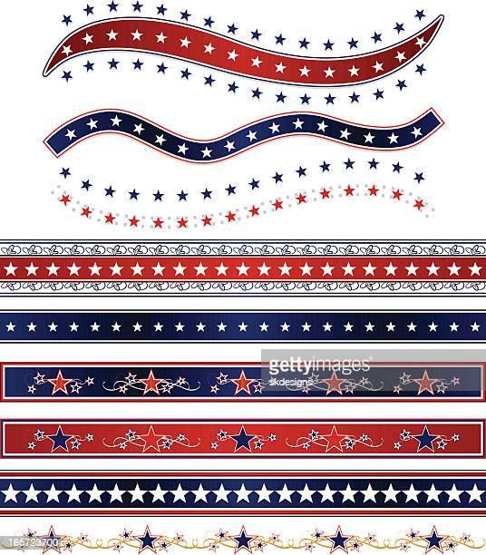 Patriottica nastri, bordi e stelle Set: Rosso, bianco e blu