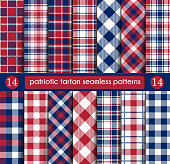 Patriotic Tartan Set of White , Blue, Red Seamless Patterns. Suitable for Elections or 4th of July. Swatches, Vector Endless Texture Can Be Used for Wallpaper, Background, Pattern Fills, Web Page, Sur