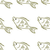 Pattern. Fish. Underwater world. Contour image of a flock of fish. Without background. Vector illustration.