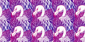Pattern Flamingo tropical animal bird. Summer nature drawing. Gradient color pink .