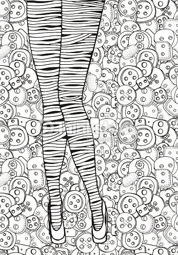 Patrón Para Colorear Libro De Tamaño A4 Piernas Sexy Mujer Arte ...