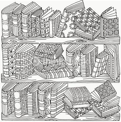 Patrón Para Colorear Libro Libros De Forma Artística Arte vectorial ...