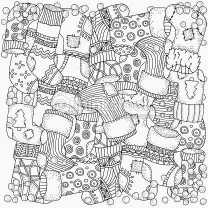 Patrón Para Colorear Libro Medias De Navidad Arte vectorial | Thinkstock