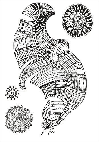 Patrón Para Colorear Libro Mandalas De Pluma Arte vectorial | Thinkstock