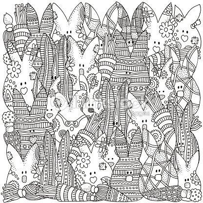 Patrón Para Colorear Libro Cuántos Conejos En El Cuadro Arte ...