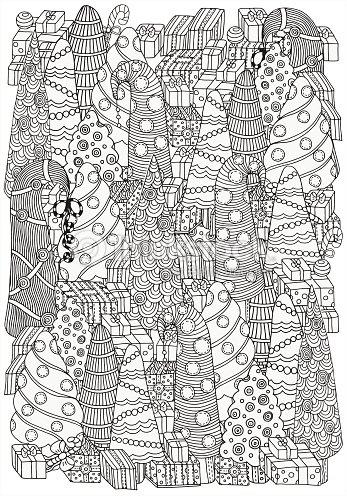 Patrón De Navidad Para Colorear Libro De árboles Arte vectorial ...