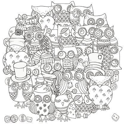 Patrón Para Colorear Libro Búhos Arte vectorial | Thinkstock