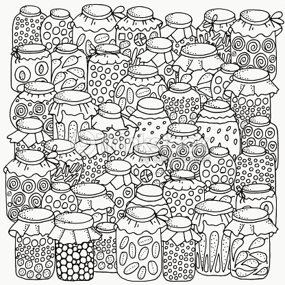 Pattern For Coloring Book Set Of Glass Jars Canning Vector Art