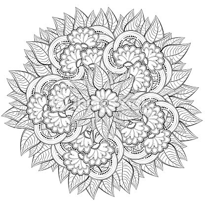 Pattern For Coloring Book With Abstract Flowers Vector Art