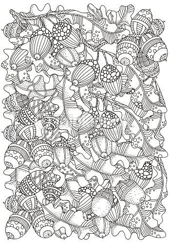 Patrón Para Colorear Libro Con Forma Artística Dibujados A Mano En ...