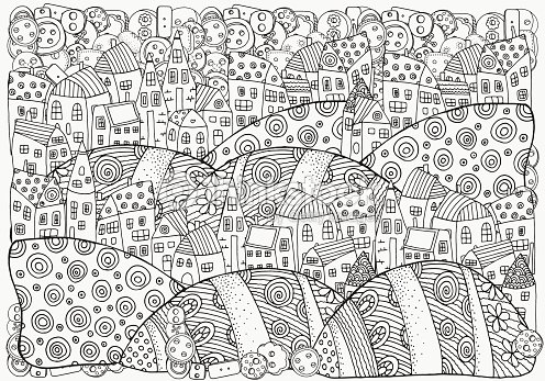 Pattern For Coloring Book With Artistically Houses A4 Magic City Vector Art