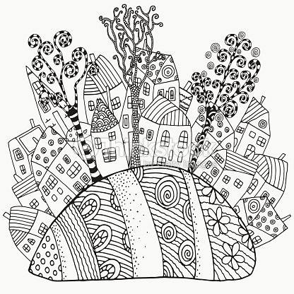 Pattern For Coloring Book With Artistically Houses Magic City Vector Art