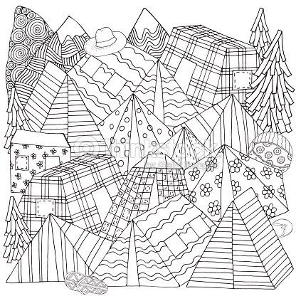 Pattern for coloring book with tents, mountains, parking of tourists. Camping illustration, Outdoor recreation, Hiking,