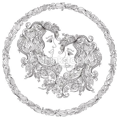 Pattern For Coloring Book Zodiac Gemini stock vector