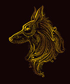 Pattern Dog. Chinese New Year 2018. Zodiac symbol. Vector design golden decoration dog on black background.