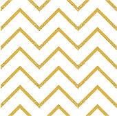 Gold glittering seamless pattern in zigzag. Classic chevron seamless pattern. Vector design