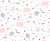 Trendy seamless pattern in the style of the 80s. . Vector illustration.