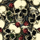 pattern of skulls with red roses