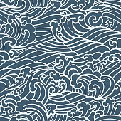 Pattern Seamless Ocean Waves hand draw asian style white hand drawn on a blue background