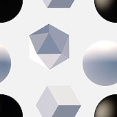 Seamless pattern with 3d primitives. Abstract background with isometric cube, ball, octagon and pyramid. Black and white tileable vector illustration.