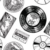 Seamless pattern with Audio and video carriers. Vinyl record, tape reel, compact tape cassette, VHS and compact disc.