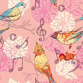 seamless pattern with birds, flowers and musical symbols