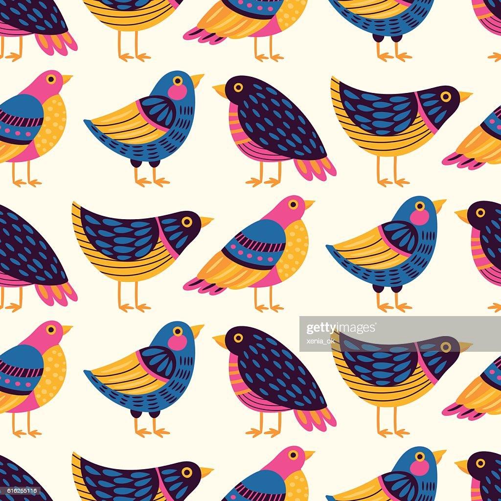 Patrón con pájaros : Arte vectorial