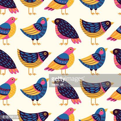 Padrão com pássaros : Arte vetorial