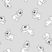 Seamless pattern with dogs. Pattern with cartoon dogs