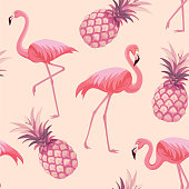 Pattern with flamingos and pineapples. Vector seamless texture.