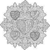 Beautiful pattern for coloring book page with hearts