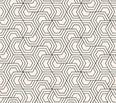 Pattern with hexagonal elements. Monochrome abstract geometric ornament.  Vector seamless background.