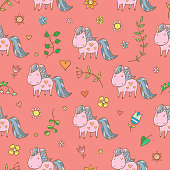 Summer seamless pattern  with  horse and plants on pink background. Vector contour colorful image.