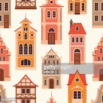 pattern with old houses : Arte vectorial