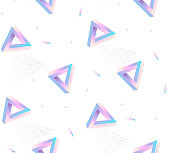 Seamless vector pattern with Impossible figures of neon colors . Penrose Triangle optical illusion.