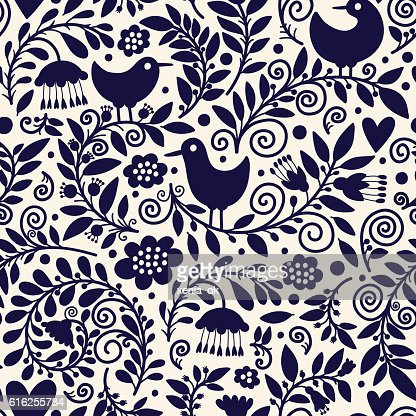 pattern with plants and birds : Arte vectorial