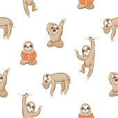 Vector seamless pattern with cute cartoon  sloth  on white  background.