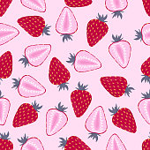 seamless pattern with whole and half halves of strawberries on a pink background, fruit wallpapers