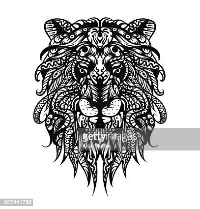 Patterned Lion Head Adult Coloring Page Tshirt Bag Postcard Poster