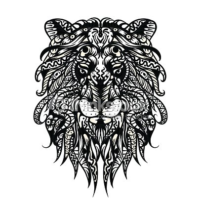 Patterned Lion Head Adult Coloring Page T Shirt Bag Postcard Poster