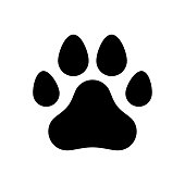 A trace of a dog paw. Logo, symbol, sign. Vector illustration