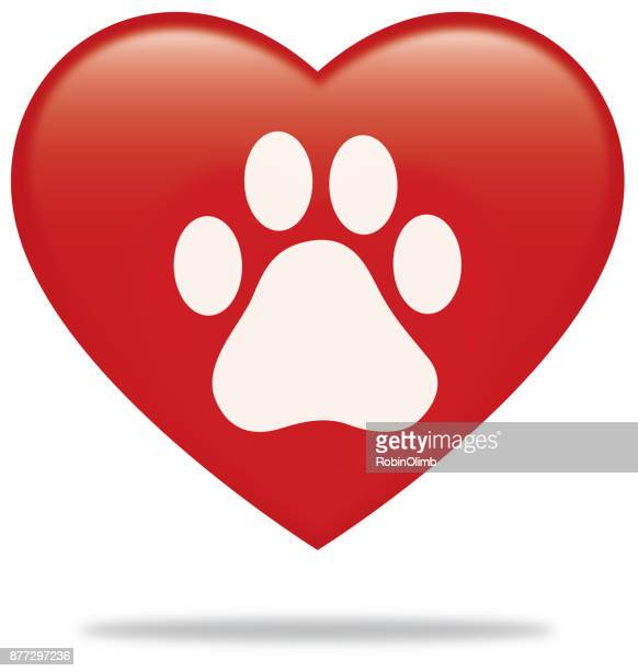 Paw Print Heart With Shadow