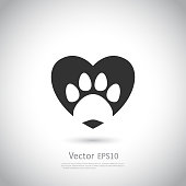 Paw print inside heart icon. Vector illustration on gray background.