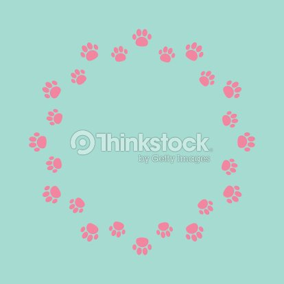 Paw Print Round Abstract Frame Empty Template Vector Art | Thinkstock