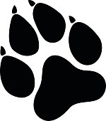 Paw Prints black Vector Illustration. Isolated vector Illustration. Black on White background. EPS 10
