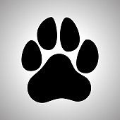 Paw Prints. Dog or cat paw print flat icon for animal apps and websites
