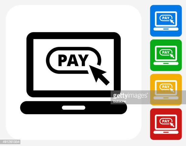 Pay Online Icon Flat Graphic Design