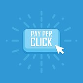 Pay per click concept flat icon. Vector illustration.