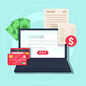 Paying bill online. Online Money Transaction Concept. Payment on internet concept. Flat design style vector illustration. Credit card, notebook with bill and money.